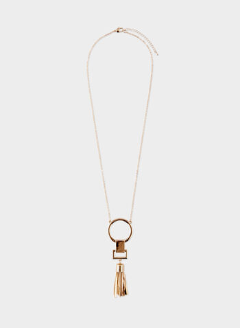 Geometric Metal Tassel Pendant Necklace, Gold, hi-res