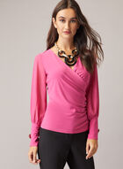 Chiffon Sleeve V-Neck Top, Red