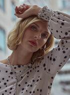 Star Print Smocked Blouse, White