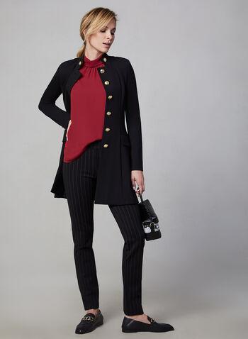 Haut sans manches en crêpe, Rouge,  haut, sans manches, col chemisier inversé, crêpe, plis, automne hiver 2019