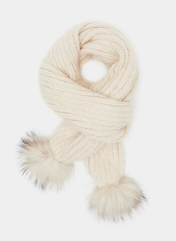 Pulled Yarn Pompom Detail Scarf, Brown, hi-res