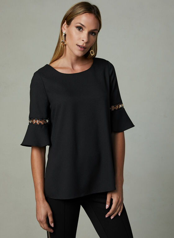 Metal Ring Detail Blouse, Black, hi-res