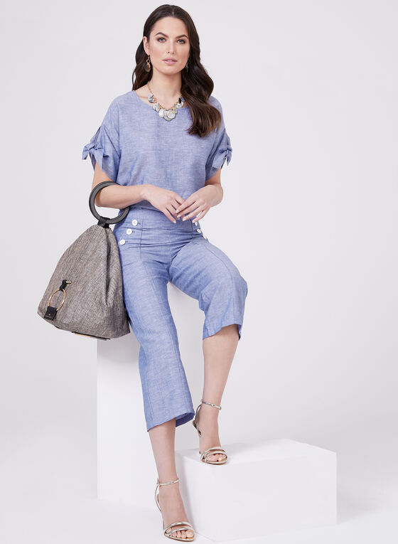 Button Detail Linen Culottes, Blue, hi-res