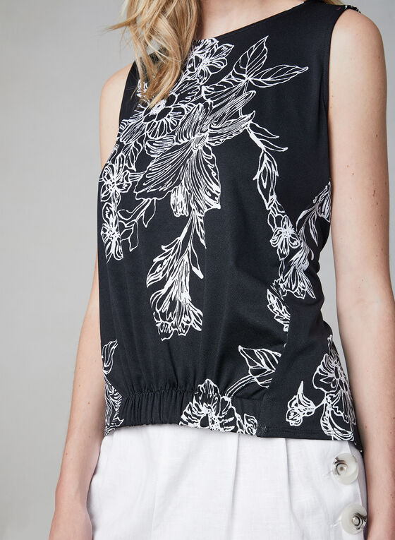 Floral Print Sleeveless Top, Black, hi-res