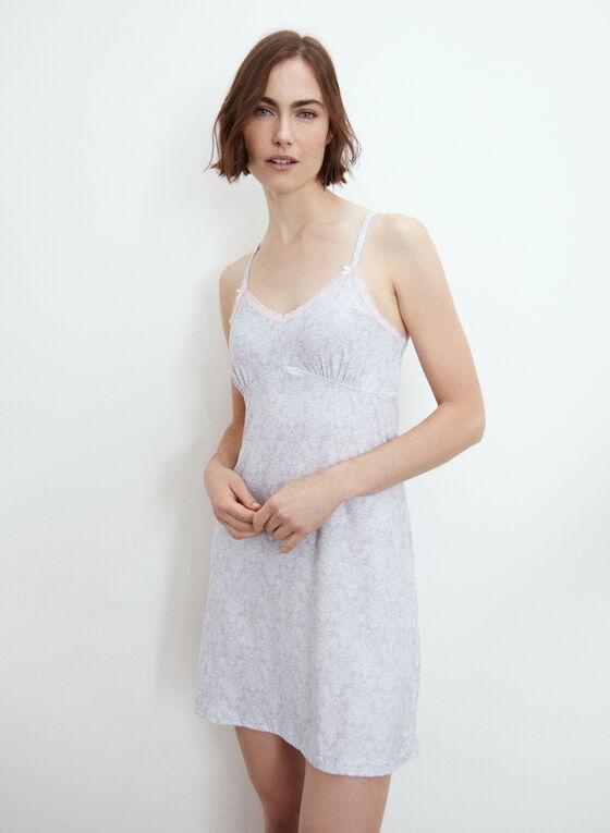 Baroque Print Nightgown Set, Grey