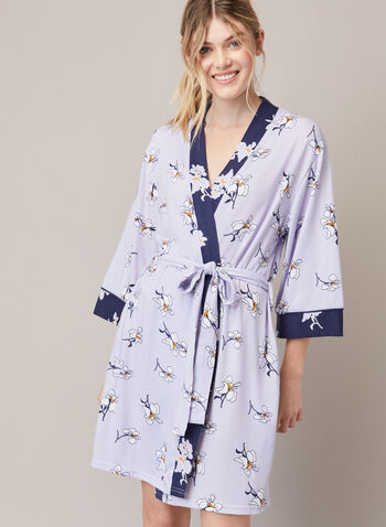 Peignoir à motif floral, Violet,  automne hiver 2020, peignoir, robe de chambre, pyjama