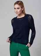 Scalloped Hem Crochet Sweater, Blue, hi-res