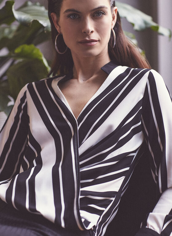 Striped Faux Wrap Blouse, Black