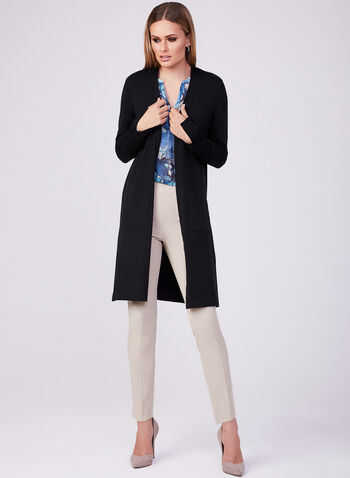 Long Sleeve Knit Duster, Black, hi-res