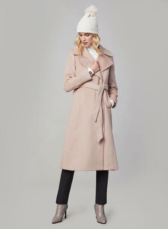 Karl Lagerfeld Paris - Belted Wool Blend Coat, Off White