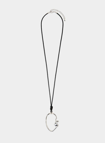 Oval Pendant Necklace, Silver, hi-res,  pearl, open pendant, leather, cord, fall 2019, winter 2019