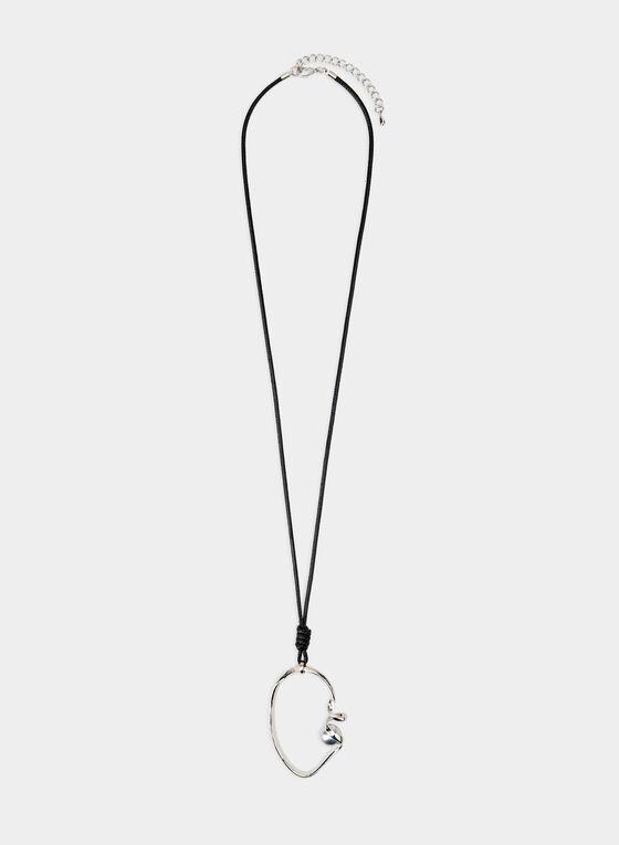Collier long à pendant ajouré et perle, Argent, hi-res
