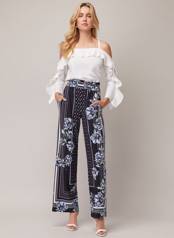 Joseph Ribkoff - Multi Print Wide Leg Pants, Blue,  pants, pull-on, floral, dotted, jersey, wide leg, spring summer 2020