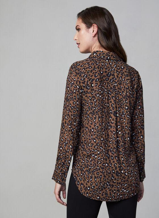 Chemisier en mousseline à motif léopard, Brun