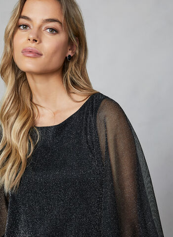 Glitter Mesh Cape Top, Black, hi-res,  top, cape, glitter mesh, sequined, beads, banded bottom, sleeveless, fall 2019, winter 2019