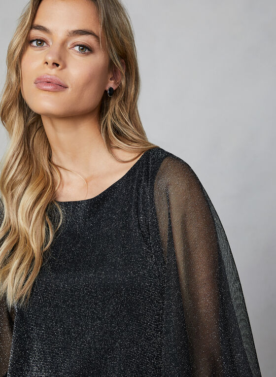 Glitter Mesh Cape Top, Black