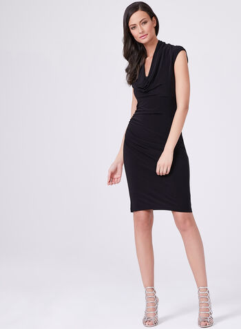 Adrianna Papell - Flowy & Ruching Neckline Dress, Black, hi-res