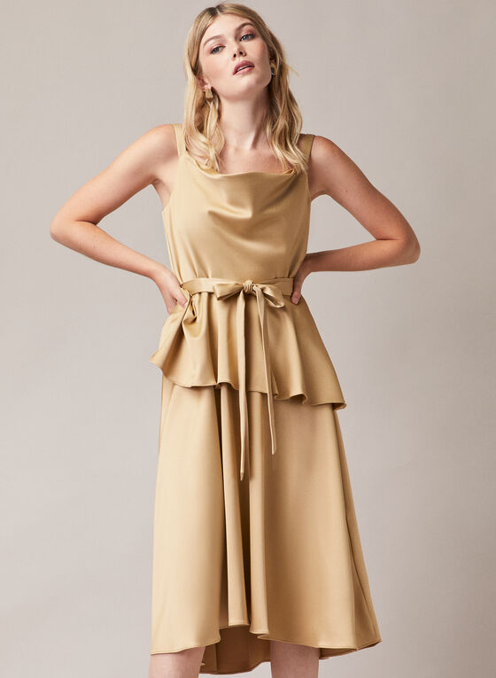 Satin Peplum Style Dress, Gold