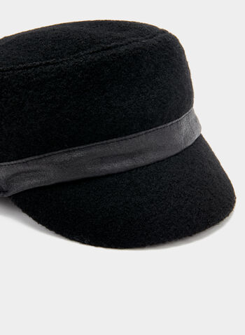 Faux Leather Trim Hat, Black, hi-res