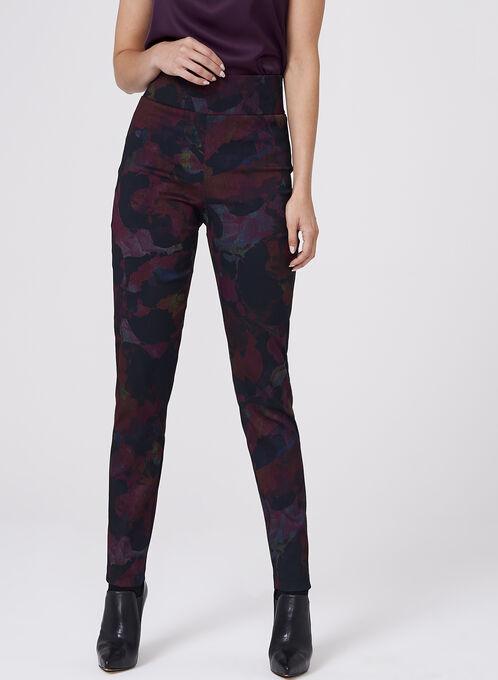 Frank Lyman - Floral Print Pull-On Pants, Red, hi-res