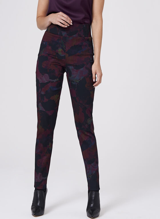 Frank Lyman - Floral Print Pull-On Pants, Red, hi-res