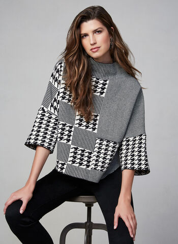 Gabby Isabella - Houndstooth Boxy Sweater, Black, hi-res,  houndstooth, checkered, print, boxy, sweater, knit, high neck, turtleneck, stretch, fall 2019, winter 2019