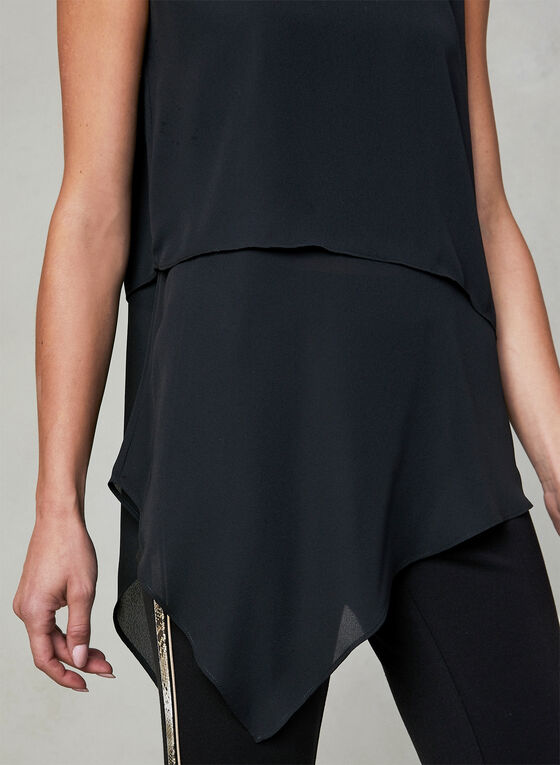 Asymmetrical Sleeveless Blouse, Black, hi-res