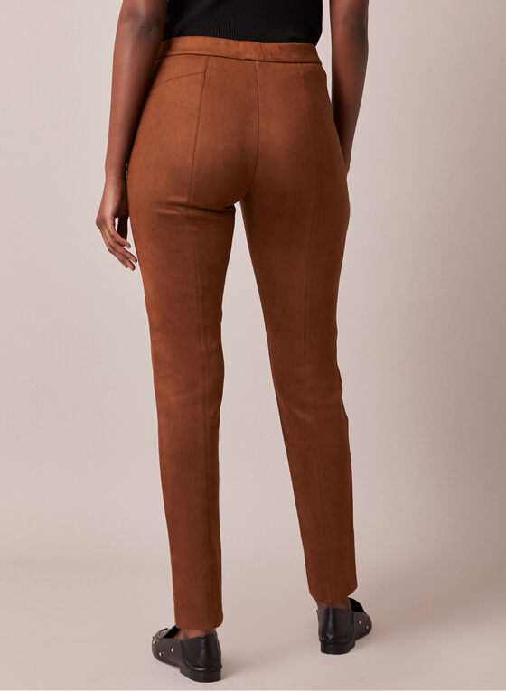 Faux Suede Pull-On Pants, Brown