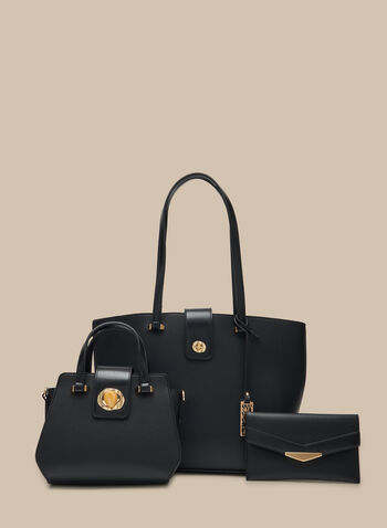 Three-Piece Set Vegan Leather Bags, Black,  handbags, bags, purse, tote, clutch, satchel, set, spring 2020, summer 2020