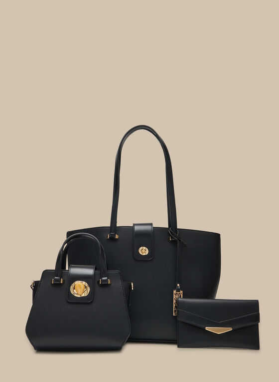 Three-Piece Set Vegan Leather Bags, Black