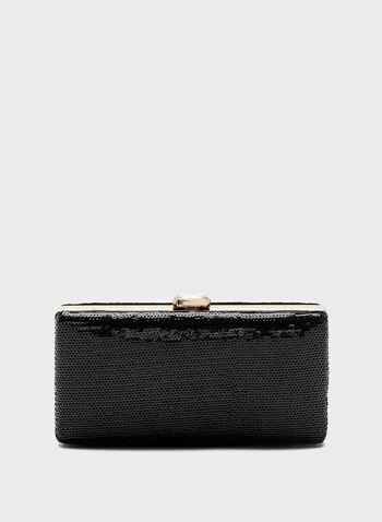 Sequin Box Clutch, Black, hi-res