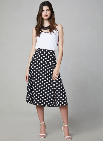 Polka Dot Print Midi Skirt, Black, hi-res
