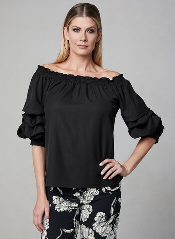 Crepe Off-the-Shoulder Top, Black, hi-res