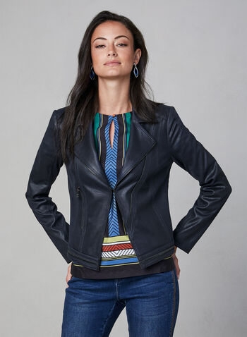 Vex - Zipper Trim Fitted Jacket , Blue,  notch collar, long sleeves, metallic hardware, fitted jacket, open front, fall 2019, winter 2019