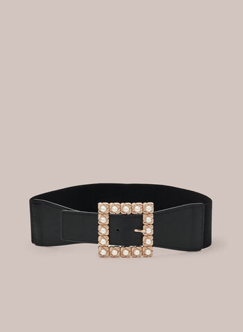 Pearl Detail Elastic Belt, Black,  belt, elastic, vegan leather, buckle, pearl, square, fall winter 2020