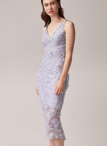 BA Nites - Robe midi en dentelle, Bleu,  robe de soirée, dentelle, appliqués floraux, col v, sans manches, printemps été 2020