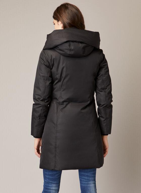 Manteau matelassé à zip asymétrique, Noir