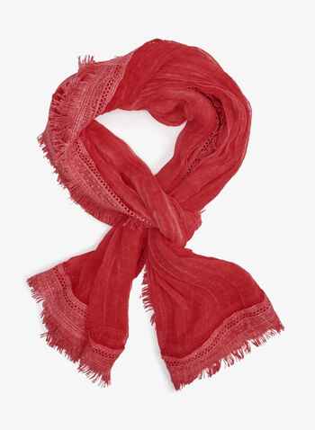 Oblong Lightweight Scarf With Fringe Detail, Orange, hi-res