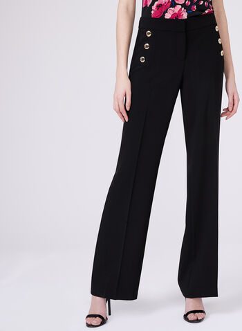 Wide Leg Button Detail Soho Pants, Black, hi-res