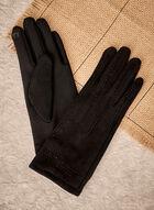 Stud Detail Faux Suede Gloves, Black