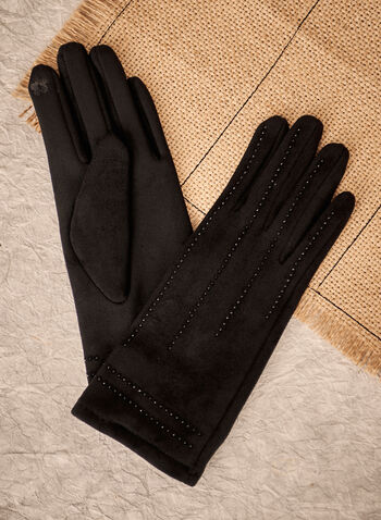 Stud Detail Faux Suede Gloves, Black,  accessories, gloves, faux suede, studs, fall winter 2021