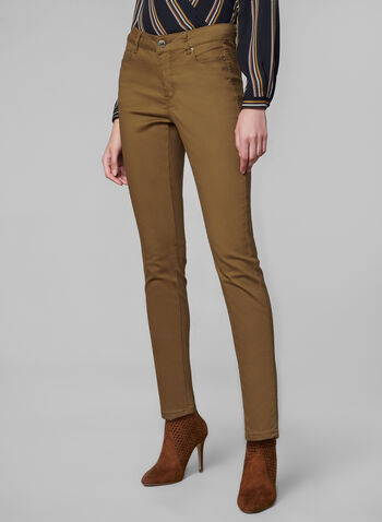Coloured Slim Leg Jeans, Gold,  fall winter 2019, jeans, denim, slim leg