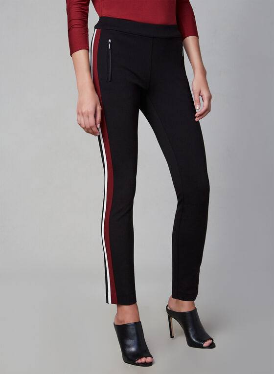 Striped Pull-On Pants, Black