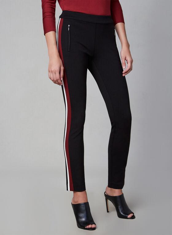 Pantalon à jambe étroite et bordures contrastantes, Noir