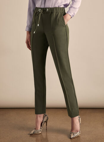 Slim Leg Drawstring Pants, Green,  pants, slim leg, drawstring, pull-on, elastic waist, pleats, pockets, piping, stretchy, spring summer 2020