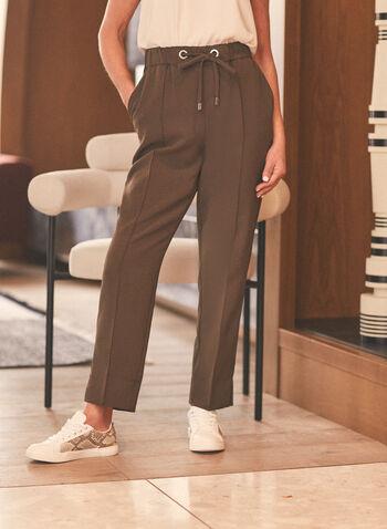 Pantalon jambe étroite avec liens, Vert,  printemps été 2020, pantalon, jambe étroite, liens, confortable, taille élastique, oeillets