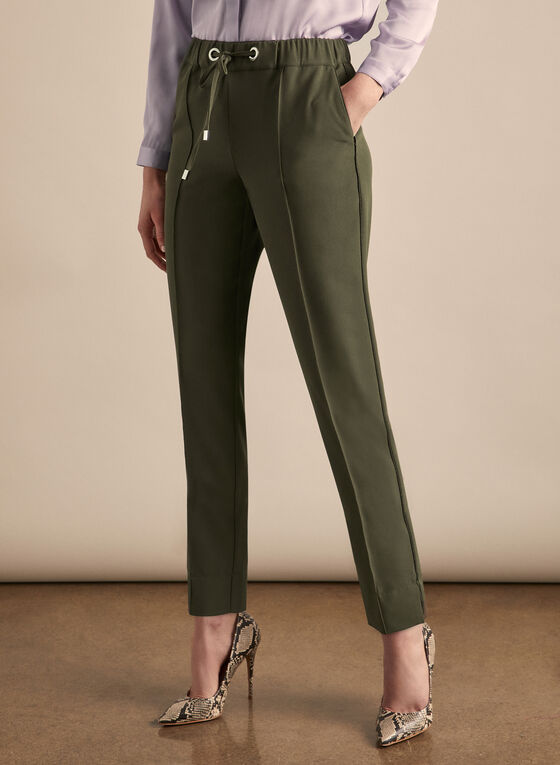 Pantalon jambe étroite avec liens, Vert