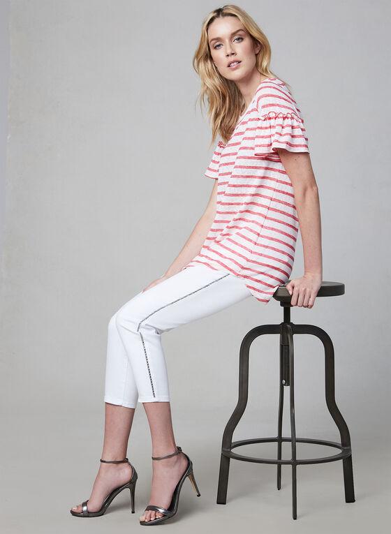 Pure Essence - Stripe Print Ruffle Top, Red