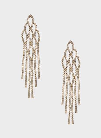 Crystal Encrusted Chandelier Earrings, Gold, hi-res