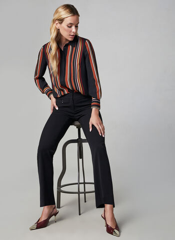 Stripe Print Chiffon Shirt, Black, hi-res,  striped blouse